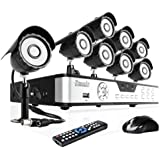 Zmodo 8CH Surveillance DVR Security Camera System with 8 Outdoor Security CCD IR Night Vision CCTV Black Cameras - 500GB HD