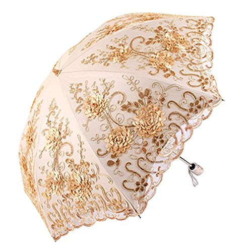 (Honeystore Vintage Lace UV Sun Parasol Folding 3D Flower Embroidery Umbrella 2 Folding Yellow)