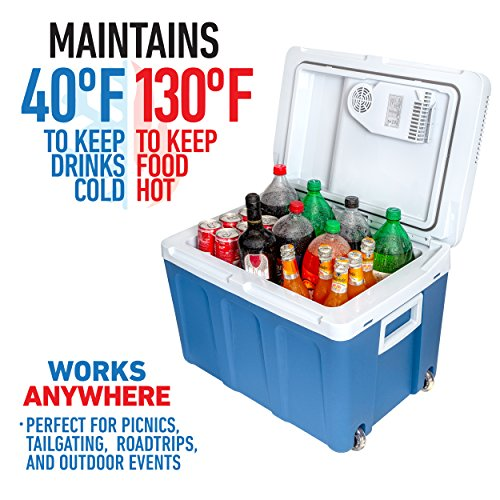 K-Box Electric Cooler and Warmer for Car and Home with Wheels – 48 Quart (45 Liter) – 6 FT. Extra Long Cables Dual 110V AC House and 12V DC Vehicle Plugs (Blue)