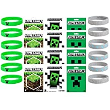 Minecraft Sticker and Bracelet Party Favor Items - 12 Stickers and 12 Bracelets