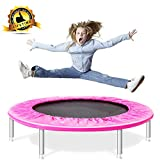 Shizzz,38-Inch Fitness Trampoline,Fitness Trampoline with Safety Pad, Stable & Quiet Exercise Rebounder for Kids Adults Indoor/Garden Workout Max 180LBS (Pink)