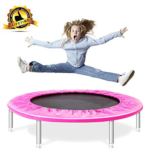 Shizzz,38-Inch Fitness Trampoline,Fitness Trampoline with Safety Pad, Stable & Quiet Exercise Rebounder for Kids Adults Indoor/Garden Workout Max 180LBS (Pink) (Pink, 38 inch)