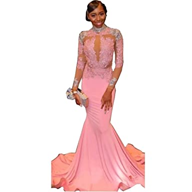 DingDingMail Charming Pink Mermaid Prom Dress Exposed Waist Sexy Long Sleeves High Neck Lace Spandex Formal