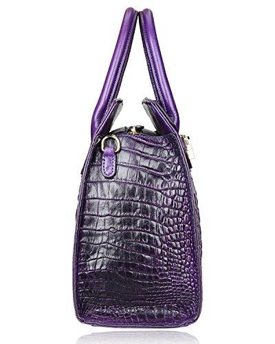 PIJUSHI Crocodile Handbags And Purses Satchel Office Padlock Handbag For Women 22130 violet by PIJUSHI (Image #4)