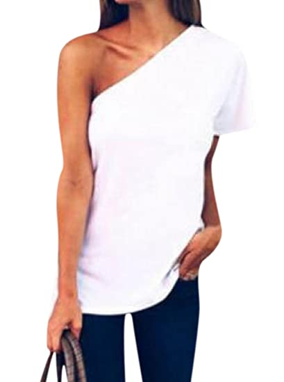 71e85f590e740 Comfy Women s One Shoulder Solid Short-Sleeve T-Shirt Top at Amazon ...