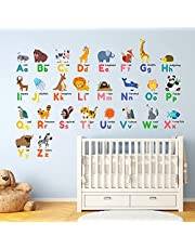 DECOWALL DW-1614 Colourful Animal Alphabet ABC Kids Wall Stickers Wall Decals Peel and Stick Removable Wall Stickers for Kids Nursery Bedroom Living Room