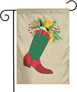 WSEDRF Christmas Cowboy Boot Garden Flag, Banner 12 X 18 Inch House Yard Flag Decorative House Yard Garden Flags