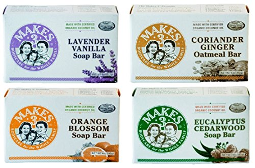 Makes 3 Organic Natural Bar Soap VARIETY PACK For Sensitive & Dry Skin (EWG Product)