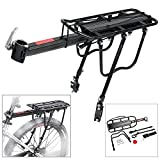 Teraysun 110 Lbs Capacity Adjustable Bike Luggage Cargo Rack Aluminum Alloy Bicycle Rear Rack Bicycle Luggage Carrier Racks with Reflective Logo