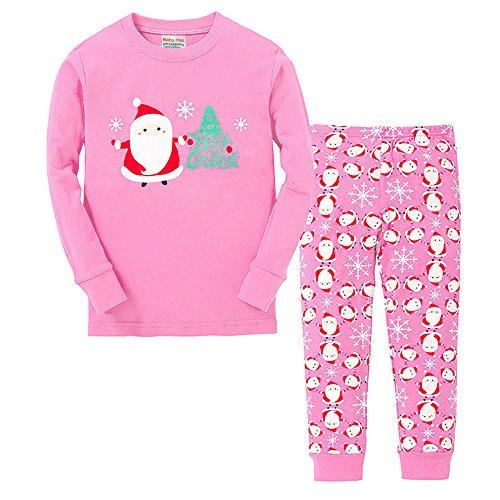 Vingi Little Girls Christmas Pajamas Set Children Santa Claus PJS 100% Cotton (Size 3T-7T) -