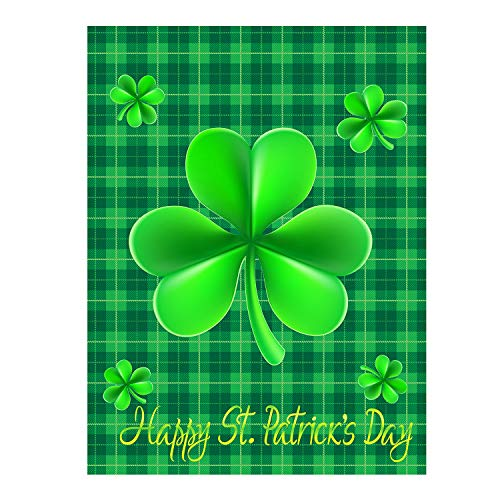- Happy St Patrick's Day Green Shamrock Clovers Leaf Lucky Double Sided House Flag Garden Banner 28
