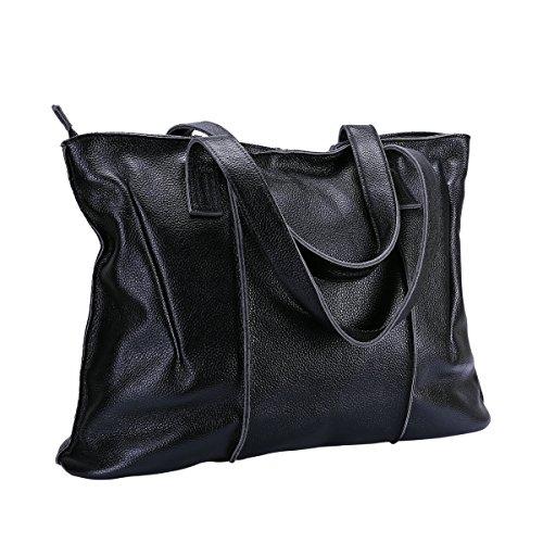 ITSLIFE Women's Cowhide Leather Designer Handbags Purse Tote Shoulder Bags(Black) by ITSLIFE