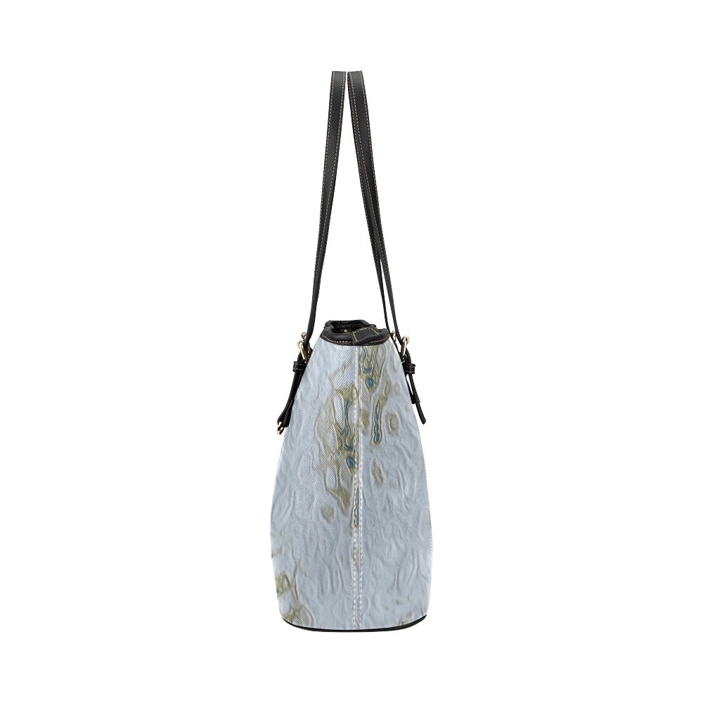 InterestPrint Grey Moon Craters Leather Tote Bag Large