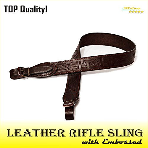 TOTAL SALE! Classic LEATHER GUN SLING/Strap for Rifle/Shotgun with Quality Stitched Edges - Top Quality Guaranteed - Classic Full-Grain, Brown Hand-Antiqued with Embossed