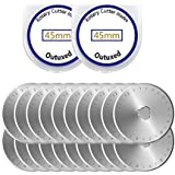 Outuxed 20Pcs 45mm Rotary Cutter Blades - Fits All Rotary Cutter for Sewing Arts Crafts