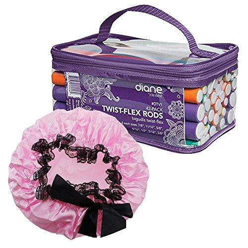 Diane by Fromm 42-Pack Twist Flex Curling Rods + Six21 Beauty Light Pink Waterproof Elastic Bath Cap - Hair Styling & Care Bundle Pack from Six21 Beauty