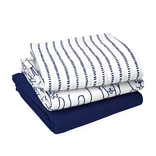 Oliver & Rain Navy/Dog/Dash Stripe Swaddle 3-Pack