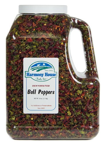 (Harmony House Dried Mixed Bell Peppers, Diced - Dehydrated Vegetables for Cooking, Camping, Emergency Supply and More, 36 oz Jar)
