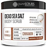 pureSCRUBS Premium Organic Body Scrub Set - Large 16oz CINNAMON BODY SCRUB - Dead Sea Salt Infused Organic Essential Oils & Nutrients INCLUDES Wooden Spoon, Loofah & Mini Organic Exfoliating Bar