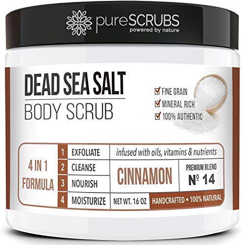 Premium Organic Body Scrub Set - Large 16oz Body Scrub - Pure Dead Sea Salt Infused With Organic Essential Oils & Nutrients + Wooden Stirring Spoon + Loofah + Organic Exfoliating Soap