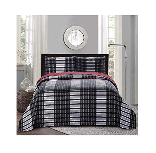 Curtain Plaid Bed (All American Collection New 3pc Plaid Printed Reversible Bedspread/Quilt Set (Full / Queen Size))