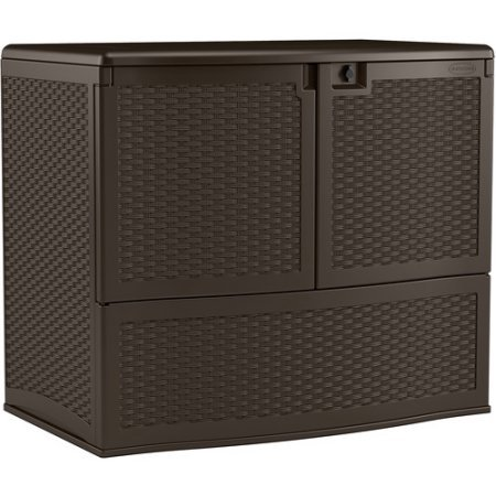 Stylish Patio Vertical Deck Box, Convenient Storage, Double-Wall Resin Construction, Weather-Resistant Resin, Long-Lasting And Durable, Front Doors, Top Lid Opening, Brown ()