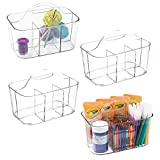 mDesign Plastic Portable Craft Storage Organizer Caddy Tote, Divided Basket Bin for Craft, Sewing, Art Supplies - Holds Paint Brushes, Colored Pencils, Stickers, Glue, Yarn - Small, 4 Pack - Clear