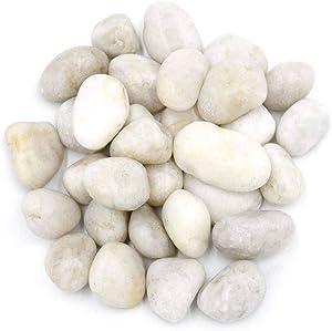 "Polished White Stone Pebbles 10 Lb. – 1"" - 2"" inch Pebbles for Plants, Gardens, Décor, Landscaping, Succulent, Terrarium, Decorative, 100% Natural Rock Pebbles without Fillers, Bright White Finish"