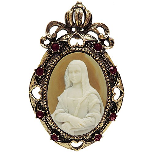 (2 X 3 Whistler's Mother Cameo Brooch, Pendant, Rhinestone Trim, in Antique Brass with Red Finish)