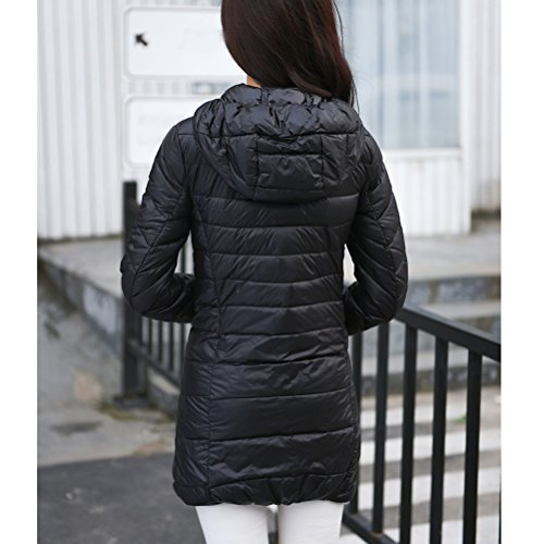 Zhhlaixing mujers Hooded Down Jacket mujer Winter Warm Long Sections Down Coat Jackets Navy