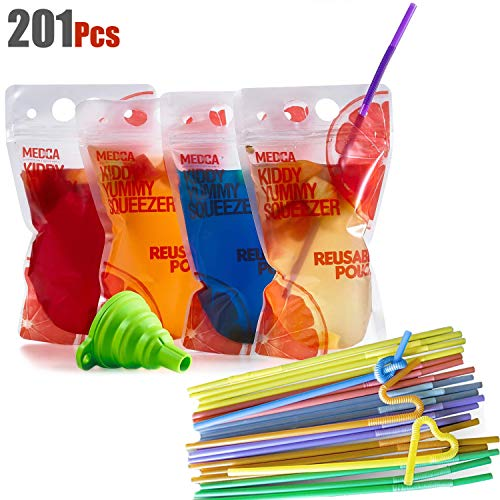 (Reusable Drink Pouches - (201 Piece Set) 100 Clear Drink Bags + 100 Straws - Double Zipper Reusable Smoothie Juice, Clear Zipper Pouch Storage Bags NO LEAKS and Environmentally Friendly & BPA Free)