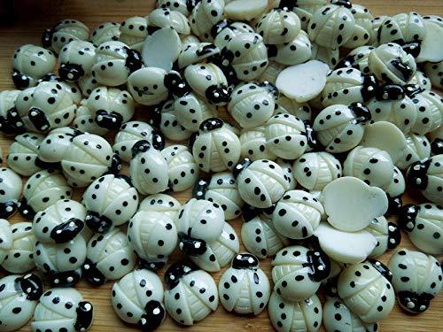 100PCS Beige Resin Flatback Ladybug Button/Bow/Bow/Appplique