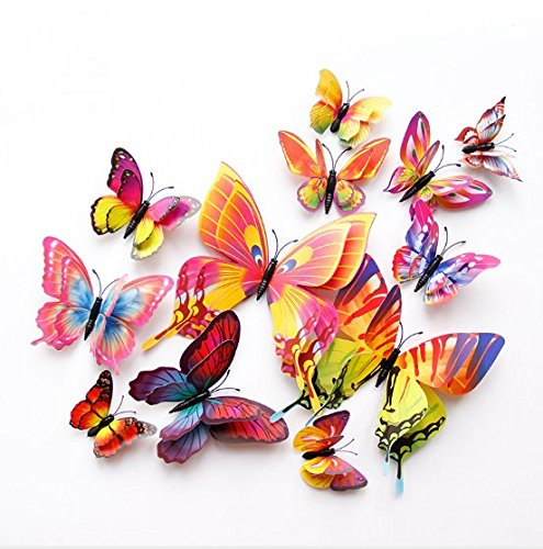 VNDEFUL 12PCS 3D Stereo Double Layer Simulation Butterfly Creative Home Living Room Decoration A Generation Of PVC Color Butterfly Wall Stickers.(Dazzle colour double,Magnetic With Glue.)