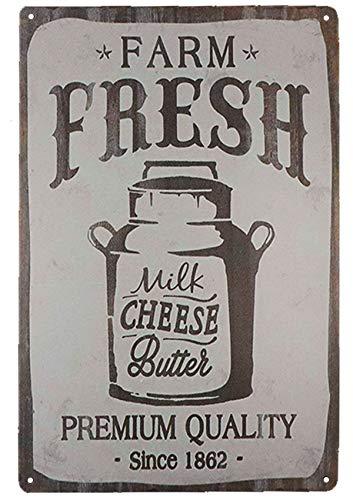 Vintage Cheese - TISOSO Farm Fresh Milk Cheese Butter Novelty Metal Tin Signs Bar Restaurant Kitchen Home Decor Wall Art Retro Vintage Distressed Size 8