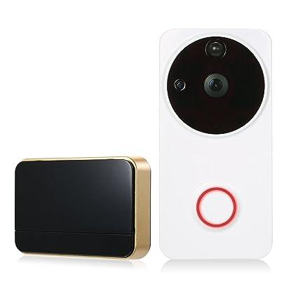 OWSOO 720P Timbre Vídeo WiFi Timbres para Puerta Vídeo Audio Bidireccional Soporte Vista Nocturna Infrarroja PIR