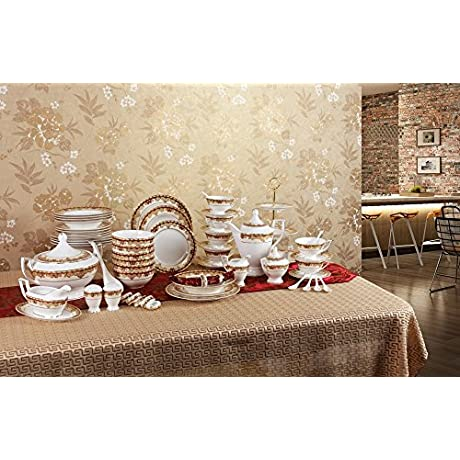 Porlien Exquisite Gold 63 Piece Dinnerware Set Trimmed With Red Porcelain Service For 6 Gift Box