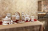Porlien Exquisite Gold 63-Piece Dinnerware Set Trimmed with Red, Porcelain, Service for 6, Gift Box