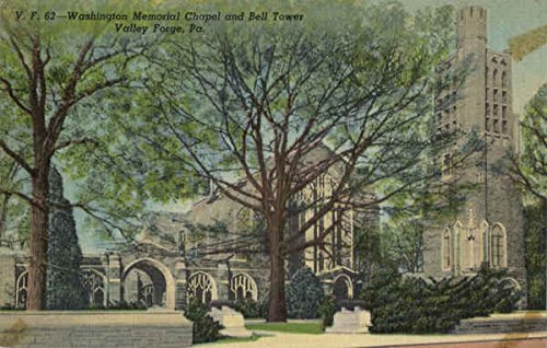 (Washington Memorial Chapel and Bell Tower Valley Forge, Pennsylvania Original Vintage Postcard)