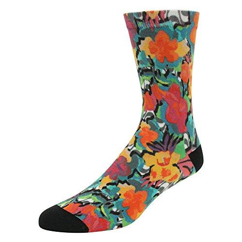 J'colour Women's Girl's Teens Youth Halloween Comfortable Fancy Patterns Dress Half Calf Collection Halloween Socks 1 Pair, Orange Flower, One Size -