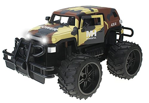 FJ Cruiser Army Camo Cross Country 1:14 Scale Battery Operated Remote Controlled 4WD MH 2.4 GHz Toy RC Truck w/Remote Control,& Door Opening Action - Cross Country Vehicle