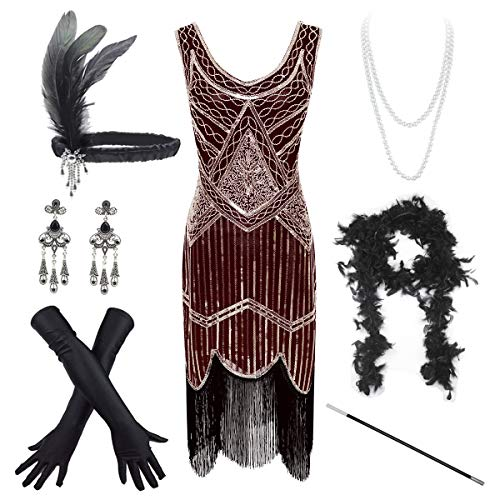 (Women's Vintage 1920s Sequin Beaded Tassels Hem Flapper Dress w/Accessories Set (Large, Gold&Wine))