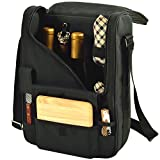 wine and cheese cooler tote - Picnic at Ascot - Wine Carrier Deluxe with Glass Wine Glasses and Accessories for Two, Black/Plaid
