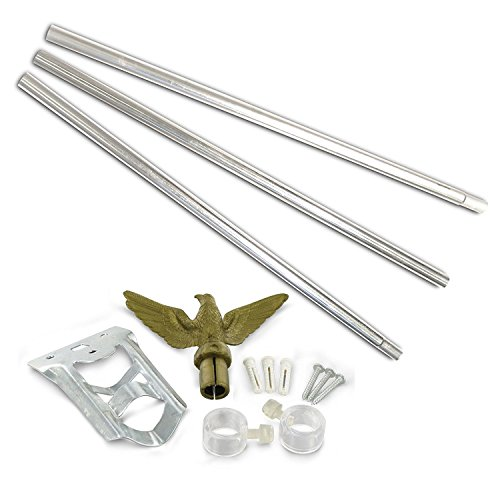 SoCal Flags Flag Pole Kit with Heavy Duty Aluminum 2-Position Mount 6ft Pole Kit - Perfect for House or Business Use - (Silver)