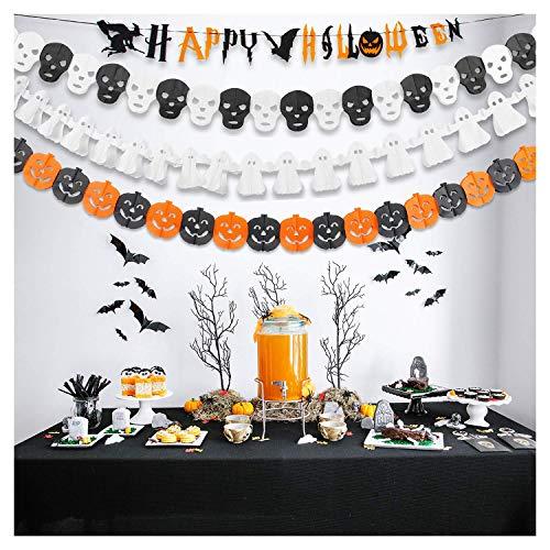 GiBot Halloween Banner Garland Happy Halloween Party Decoration Tissue Paper Garland Halloween String Banner,Pumpkin Ghost Skull Garland Banner,4 Pack