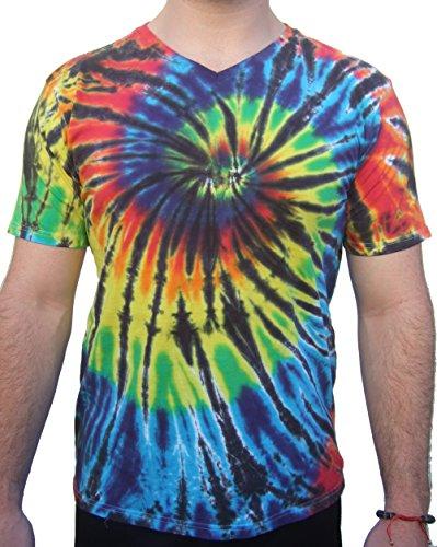 Rockin' Cactus Men's V-Neck Lightweight Tie Dye T-Shirt-Rainbow Black Spider-4X (Swirl T-shirt Dye Tie Rainbow)