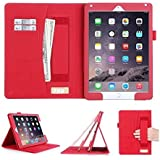 [Luxurious Protection] iPad Air 2 Case Cover, FYY® Premium PU Leather Case Stand Cover with Card Slots, Pocket, Elastic Hand Strap and Stylus Holder for iPad Air 2 Red (With Auto Wake/Sleep Feature)