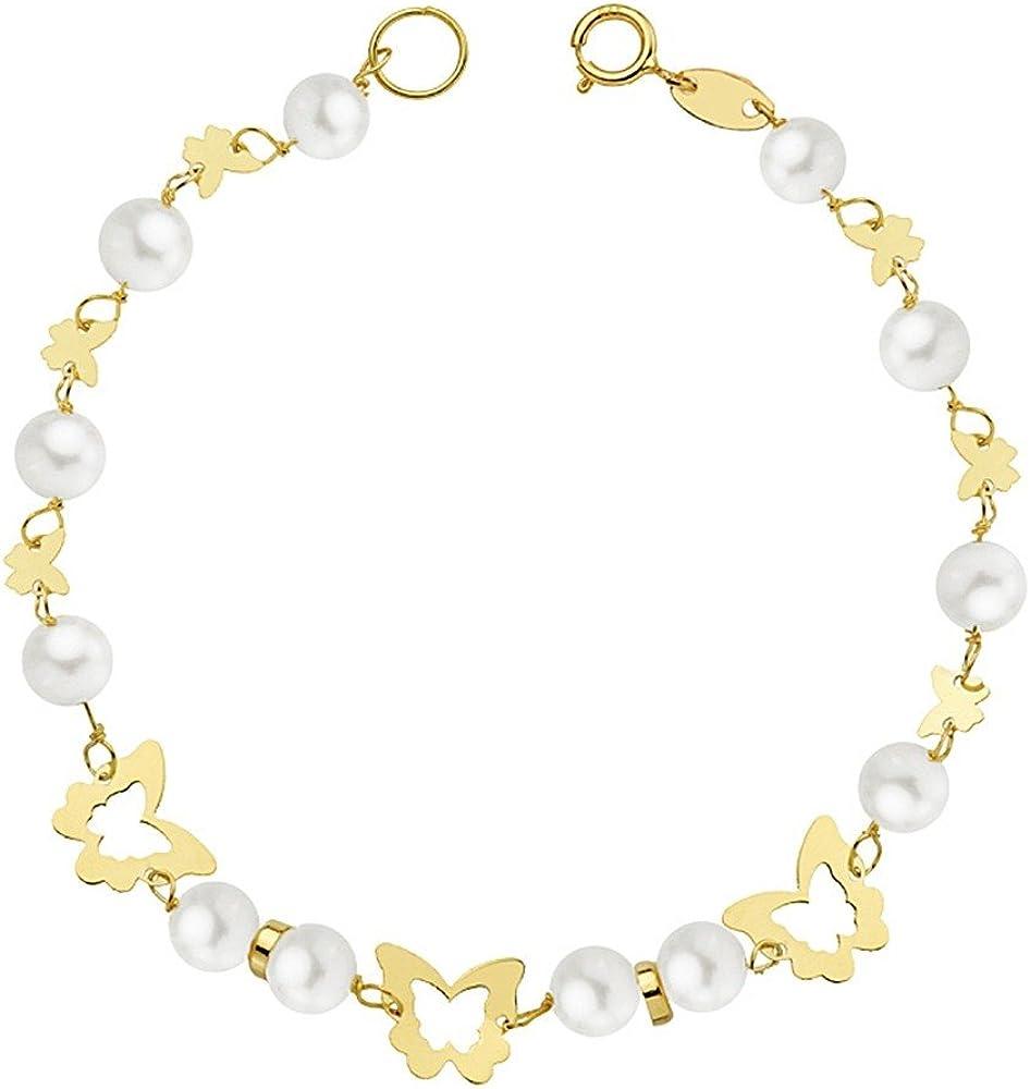 Pulsera Oro 18K Primera Comunión 16.5cm. Mariposas Caladas Perlas Cultivadas Niña Cierre Reasa