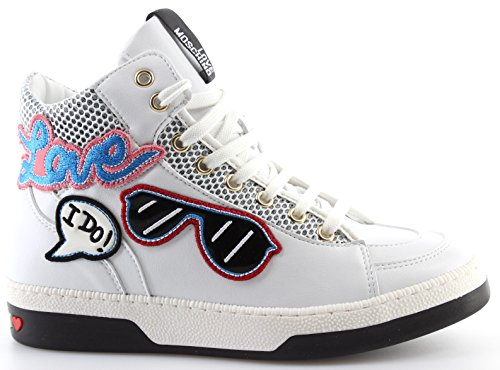 Love Moschino Chaussures Femme Sneakers Vit PU Bianco Blanc Love Sunglasses I Do