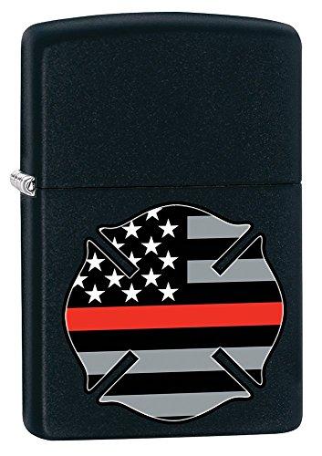 Zippo Red Flag Firefighter Black Matte Pocket -