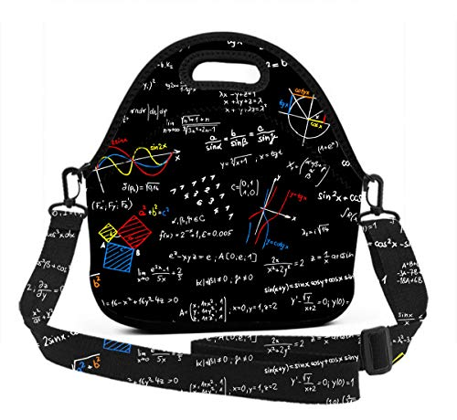 Premium Neoprene Thermal Insulated Math Lesson Lunch Bag Tote Bag, Reusable Outdoor Compact Lunchbox With Zipper Closure For Men And Women, Easy To -